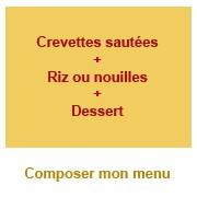Menu crevettes + Dessert