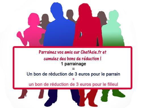 Parrainage recevrez 3 euros de bon de réduction pour le parrain et pour le filleul