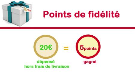 points de fidélité : 1 euros dépensé = 1 point gangé = 0,05 euros offert